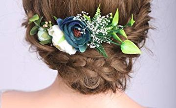 Deniferymakeup Champagne and Dark Blue Flower Comb Bridesmai