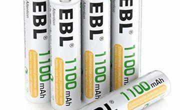 EBL AAA Rechargeable Batteries Ni-MH 1100mAh - High Capacity AAA Battery x 20 and Rechargeable Battery Storage Case x 5 (Typical 1100mAh, Minimum 1000mAh)