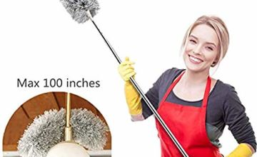 Extendable Feather Duster with Telescopic Pole(Stainless Steel), Extra Long 100 inches,Microfiber Duster with Washable Bendable Head, Hand Duster for Cleaning High Ceiling Fans, Blinds, Cobweb, Cars
