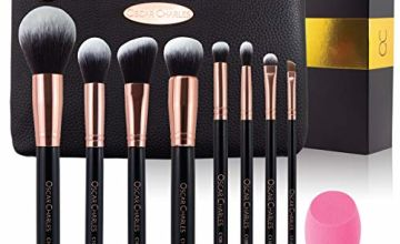 Oscar Charles Makeup Brushes Set: 8 Piece Luxe Professional Make up Brushes, Beauty Blender and Luxury Clutch Cosmetic Bag in a Beautiful Gift Box