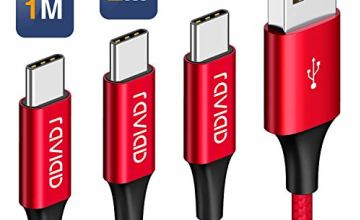 USB C Cable, RAVIAD USB Type C Fast Charger Charging Cable Nylon Braided USB C Sync Cable for Samsung Galaxy S10 S9 S8, Huawei P30 P20, Moto G7, Sony Xperia XZ