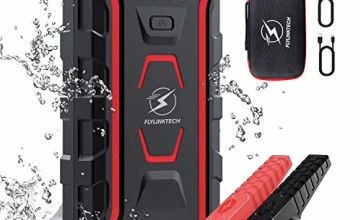 FLYLINKTECH Car Jump Starter, 1500A Peak 20000mAh Auto Battery Booster(All Gas or 7.0L Diesel) Portable Power Pack with IP68 Waterproof, Dual QC3.0 USB Ports, 2 LED Flashlights&3 Light modes