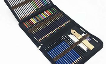 72 Piece Drawing Pencils, Colouring Pencils and Sketch Pencils Set with Drawing Tool in Pop Up Zipper Case - Ideal Gift for Beginners & Pro Artists Drawing Art, Sketching, Shading & Colouring