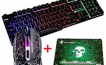 UrChoiceLtd MeiYing T6 Rainbow Backlit Ergonomic Usb Gaming Keyboard + 2400DPI 6 Buttons Optical Rainbow LED Usb Gaming Mouse + FREE Gaming Mouse Pads 220*180*5mm Standard Size (Luminous Key, Black)