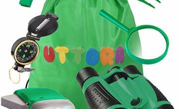 UTTORA Outdoor Explorer Kit Gifts Toys Kids Binoculars Set, Outdoor Exploration Set, Suggest for 8+ Year Old Boy and Girl, Kids Telescope Adventure Kit, Children Outdoor Educational Kit