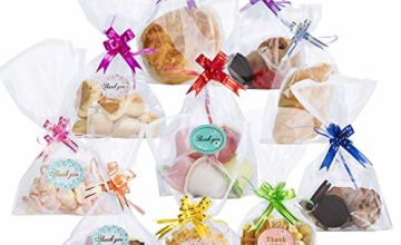 RFWIN 100pcs Sweet Bags, Clear Cellophane Bags and Ties for Party Christmas