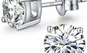 18K White Gold Plated CZ Cubic Zirconia Diamond Sparkly Round Stud Earrings 925 Sterling Silver 4mm to 8mm Fine Jewelly for Women Men