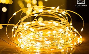 Fairy Lights, WOWDSGN 13.5m/44ft 120 Warm White LEDs String Light with USB Plug, IP66 Waterproof Firefly Lights for Xmas, Party, Bedroom, Wedding, Indoor/Outdoor -Silver Wire