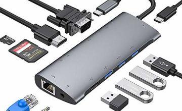 USB C Hub, Aluminum Type C Hub Adapter Compatible with MacBook Pro, USB-C Power Delivery, 4K HDMI, 1080P VGA, RJ45 Gigabit Ethernet, SD/TF Card Reader, USB 3.0/2.0, 3.5mm Audio Jacket (Space grey)