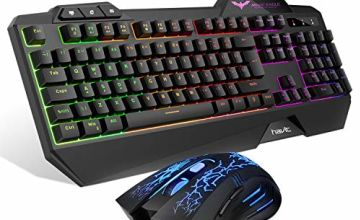 Gaming Keyboard {UK Layout}, HAVIT Rainbow LED Backlit Wired Keyboard and Mouse Combo Set