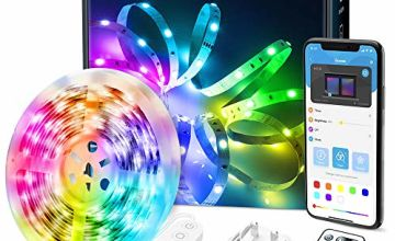 LED Strip Lights, Govee Bluetooth Colour Changing RGB Light Strip, Music Sync and 7 Scenes with Phone App, Remote, Control Box LED Lights for Room, Kitchen, Party, Christmas, 3 Way Controls