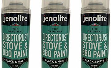 3 x Jenolite Directorust BBQ & Stove Aerosol Paint - Black Matt - Very High Temperature Resistant Up to 650ºC - 400ml