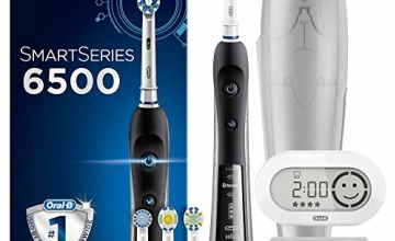 Oral-B SmartSeries 6500 CrossAction Electric Toothbrush, 1 Black App Connected Handle, 5 Cleaning Modes with Whitening and Gum Care, Pressure Sensor, 4 Toothbrush Heads,  Travel Case, UK 2 Pin Plug