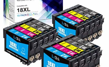 15 LxTek 18XL Ink Cartridges Compatible Replacement for Epson 18 18XL 18 XL for Epson Expression Home XP-322 XP-215 XP-205 XP-225 XP-305 XP-325 XP-422 XP-405 XP-415 XP-425 XP-315 XP-312 XP-412
