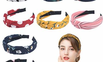 URAQT Headbands for Women, 8 Packs Mixed Printed Fabric Hair Band, Knot Hairbands Hair Accessories for Daily Wearing, Dating, Sports