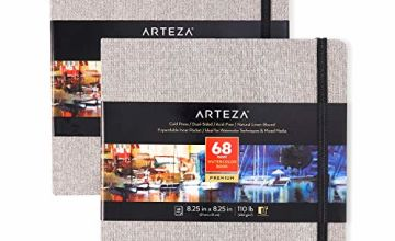Arteza Watercolour Sketchbooks, 8.25x8.25-inch, 2-Pack, 68 Sheets, Gray Art Journal, Hardcover 110lb Paper Book, Watercolour Sketchbook for Use as Travel Journal and Mixed Media Pad
