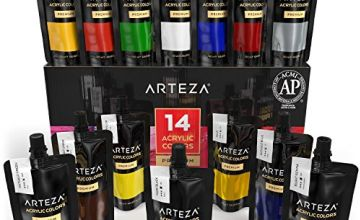 Arteza Acrylic Paint Set, 14 Colours/Pouches, (120 ml/4.06 oz.), with Storage Box, Rich Pigments, Non Fading, Non Toxic, for The Professional Artist, Hobby Painters & Kids