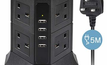 Tower Extension Lead 5M, Vertical Power Strip with 8 Outlets and 4.5A 4 USB Charging Ports, Multi Gang Switched Charging Station for TV PC Laptops iPhones Tablets, 5 Metre Long Extension Cord, Black
