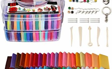 Polymer Clay Set - 42 Colors Modeling Clay Soft and Nontoxic DIY Oven Bake Clay Kit with Modeling Tools and Storage Box, Birthday for Kids (Multicolor)