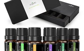 Anjou Therapeutic Grade Aromatherapy Essential Oils Set, 100 Percent Pure, 6 Pack, 10ml - Lavender, Tea Tree, Eucalyptus, Lemongrass, Orange, Peppermint