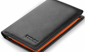TEEHON® Wallets Mens RFID Blocking Genuine Leather with 12 Credit Card Holders, Coin Pocket, 2 Banknote Compartments, ID Window, Bifold Vertical Slim Wallet for Men with Gift Box- Black & Orange