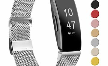 Amzpas Compatible for Fitbit Inspire Hr Strap/Fitbit Inspire Strap, Stainless Steel Metal Mesh Bands Compatible with Fitbit Inspire/Inspire HR/Ace 2, Small Large Women Men (S, 01 Silver)