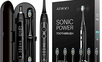 Sonic Toothbrush, ATMOKO True 40,000VPM Electric Toothbrush 5 Cleaning Modes with 6 Replacement Brush Heads, Inductive Charging, 21 Days Use, Smart Timer, IPX7 Waterproof, Travel Case Included
