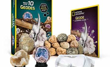 NATIONAL GEOGRAPHIC Break Open 10 Premium Geodes – Includes Goggles, Detailed Learning Guide and 2 Display Stands