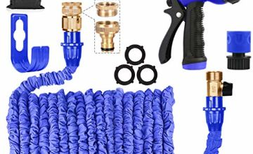 AIGUMI Expandable Garden Hose 100Ft/30M Expanding Garden Hose Pipe with Brass Connector, 8 Function Spray, Flexible Anti-Kink for Home, Garden, Patio and Car Cleaning-1 Year Replacement Warranty(Blue)