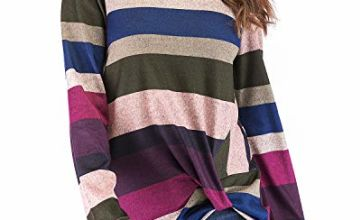 Eanklosco Women's Striped Tops Crew Neck T Shirts Knot Front