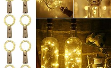LE Bottle Lights with Cork for Gin, 8 Pack 2M 20 LED Cork Lights, Warm White Fairy Lights Battery Powered for Wedding Decorations, Table Centrepieces, Party, Bedroom and More