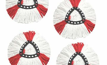(4 Pack) SUPERFA Mop Heads Compatible with Vileda 2-in-1 Turbo Mop,Replacement Head, Microfibre, Red, White