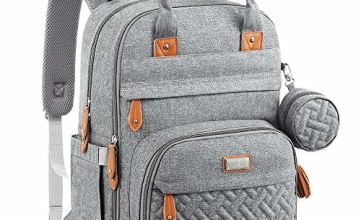 Baby Changing Bag Backpack, BabbleRoo Nappy Changing Back Pack Diaper Bags with Changing Mat & Pacifier Holder for Mom & Dad