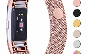 Amzpas Replacement For Fitbit Charge 2 Strap, Metal Mesh Magnetic Adjustable Clasp Stainless Steel Replacement Strap for Fitbit Charge 2 Men Women Small Large (L, 08 Gold)