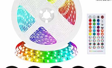 LED Strip Lights Rilitor 5050 10m per Roll LED Lighting Strips Sync to Music RGB Rope Light 300LEDs with 12V Power Supply & Remote Control Strip Lighting for Home Indoor Party Bar Decoration