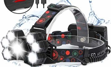 REEXBON Headlight USB Rechargeable 7 LED Super Bright Zoomble Head Torch Adjustable Outdoor Waterproof with Flashlight SOS Strobe and Safety Rear Light for Camping Fishing Hiking Hunting