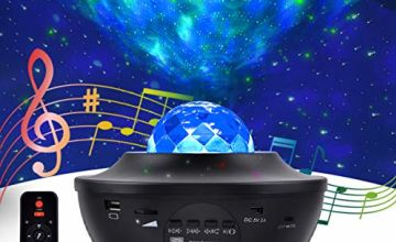 LED Projection Lamp Star Projector Night Light, 2 in 1 Starry Lamp & Ocean Wave Projector with Remote Control 10 Colors Changing Music Bluetooth Speaker Timer for Kids Adults Halloween Christmas Gifts