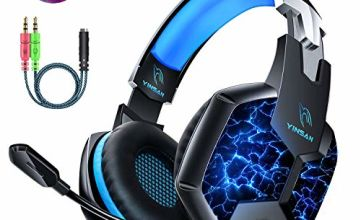YINSAN PS4 Headset Gaming Headset for Xbox One, 7 LED Lights Stereo Surround Sound Soft Memory Earmuffs Gaming Headphones with Mic Cancelling & Volume Control PC Headset for Laptop Tablet Mac