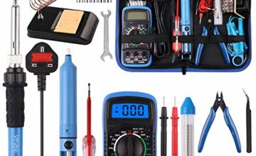Soldering Iron Kit,WOWGO 60W Adjustable Temperature Welding Tools Set with 5 Soldering Tips,Digital Multimeter,Soldering Iron Stand,Tin Wire Tube,Desoldering Pump and Portable PU Tool Bag