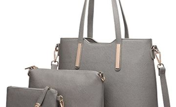 Miss Lulu Women Fashion Handbag Shoulder Bag Purse Faux Leather Tote 3 Piece (Grey)