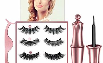[4 Pairs]Reusable Magnetic Eyelashes, 2020 Upgraded 3D Waterproof Magnetic Eyeliner and Multi Styles Lashes With Tweezers - No Glue Needed