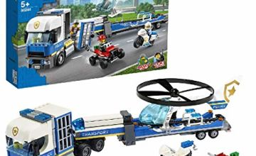 LEGO City 60244 Police Helicopter Transport with ATV Quad Bike, Motorbike and Truck with Trailer