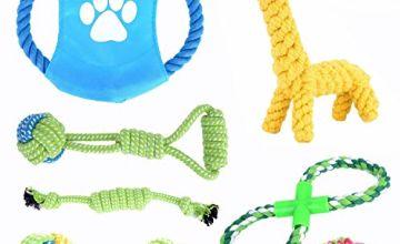 Emwel Set of 7 Dog Rope Toys Tug Super Tugger, Puppy Dental