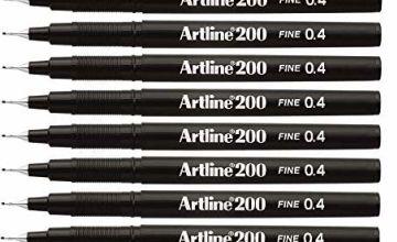 Artline 200 Fineliner Pen Water-based Ink 0.4mm Tip 0.4mm Line Black Ref A2001 [Pack of 12]