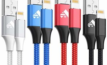 iPhone Charger Cable Lightning Cable 4Pack 1M Nylon iPhone Charger Fast iPhone Charging Cable Lead for iPhone 11 Pro Max XR XS X 8 8 Plus 7 7 Plus 6s 6s Plus 6 6 Plus 5s 5 SE, iPad