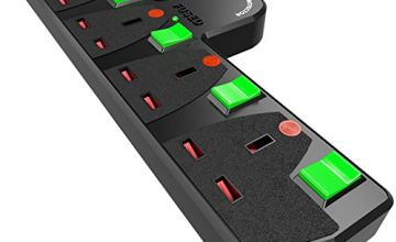 Duronic S125-5 Way Switched Surge Protected Multi-Socket Adaptor - Turns 1 Socket into 5