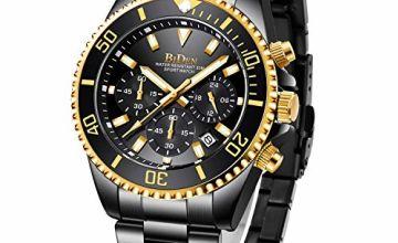 Mens Watches Chronograph Waterproof Analogue Quartz Watch Men Designer Stainless Steel Wrist Watch Date Fashion Watches for Men