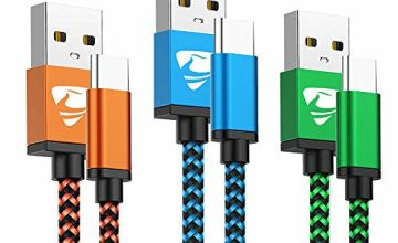 USB C Cable Aioneus USB Type C Cable 3Pack 2M Charger Cable Nylon Fast Charging Cable Compatible Samsung A40 A50 A70 S8 S9 S10 A20e S10e, Huawei P30/P20/P30 pro/P20 pro P10, Sony l1 l2 l3 XA2 XZ2 XZ3