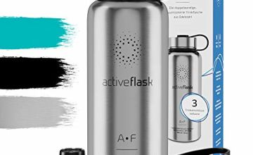 Stainless Steel Water Bottle ACTIVE FLASK + 3 Drinks Lids | Leak-Proof & BPA-free, Vacuum Insulated Drinking Bottles | 1l/500ml Outdoor Thermos Mug - 12h Hot / 24h Cold, Tea Coffee, Sports Camping Gym