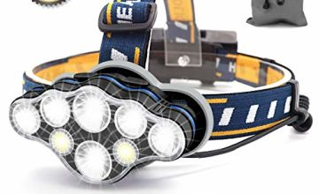 SYOSIN Headlight,8 LED 18000 Lumen Headlamp,USB Rechargeable Super Bright Waterproof Head Torch for Camping,Cycling,Climbing,Hiking,Fishing,Night Reading,Running